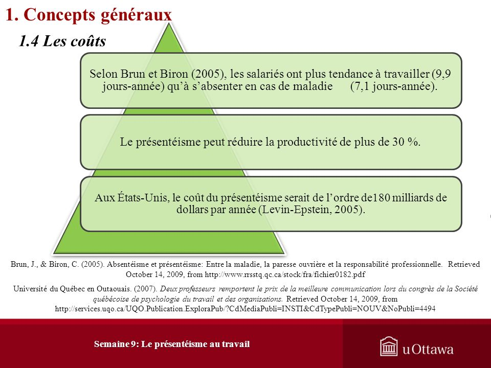Hemp, P. (2004). Presenteeism: At work – but out of it. Harvard Business Review, 49-59. Office québécois de la langue française. (2006). Présentéisme: