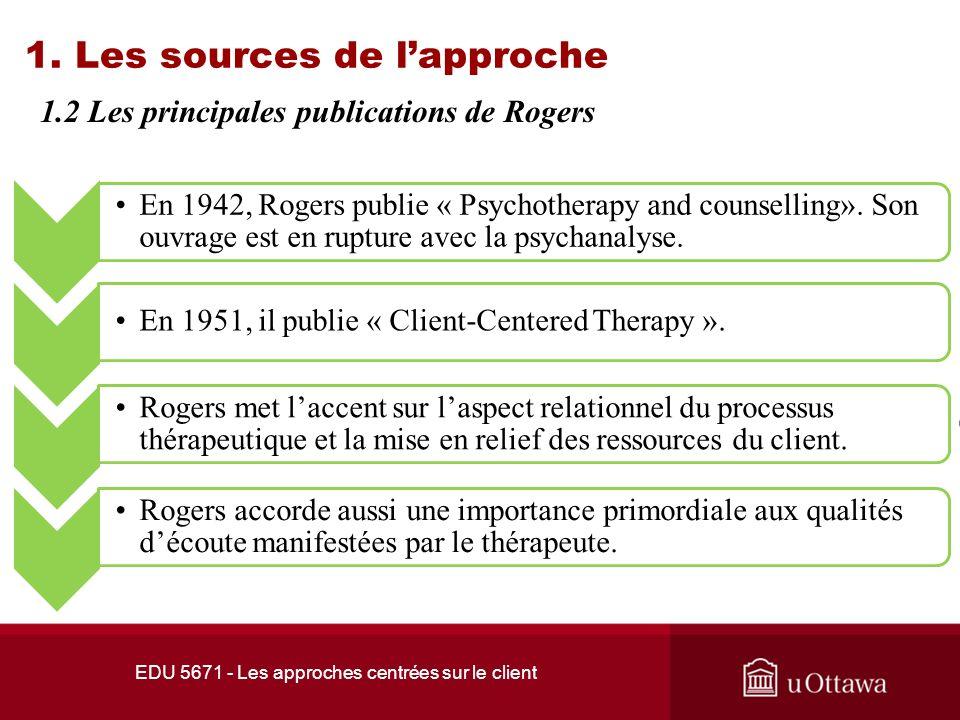 EDU 5671 - Les approches centrées sur le client 1.2 Les principales publications de Rogers 1.