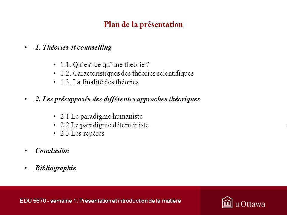 Faculté déducation EDU 5671 Le counselling: théories et pratique I Semaine 1 : Présentation et introduction de la matière André Samson, Ph.