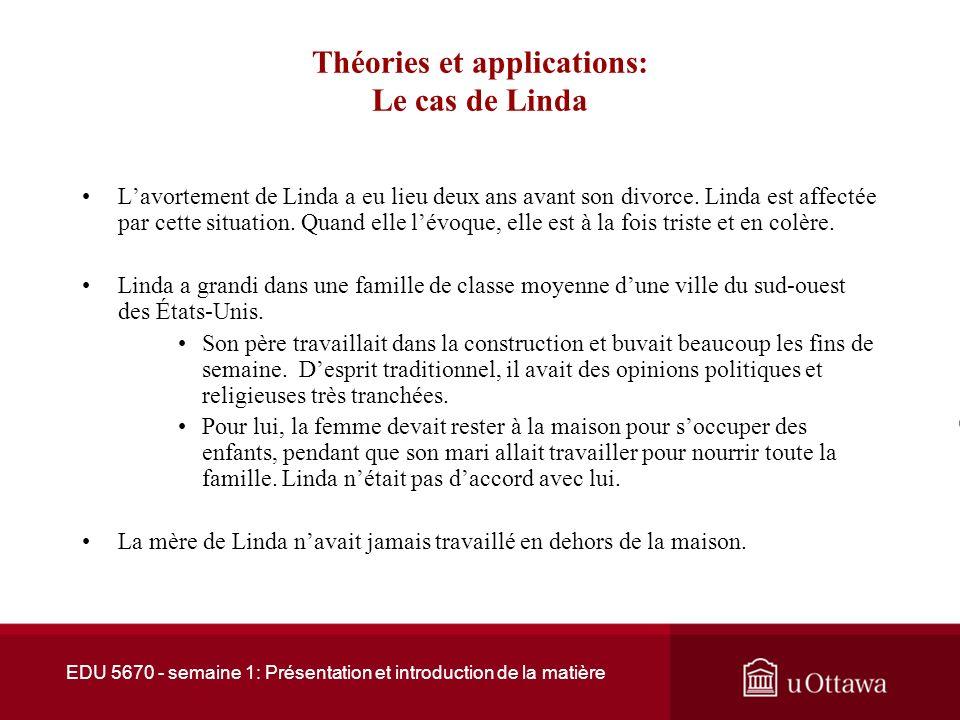 Théories et applications: Le cas de Linda Linda est une femme caucasienne âgée de 32 ans qui vient de divorcer.