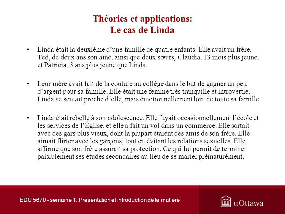 EDU 5670 - semaine 1: Présentation et introduction de la matière Théories et applications: Le cas de Linda Lavortement de Linda a eu lieu deux ans avant son divorce.