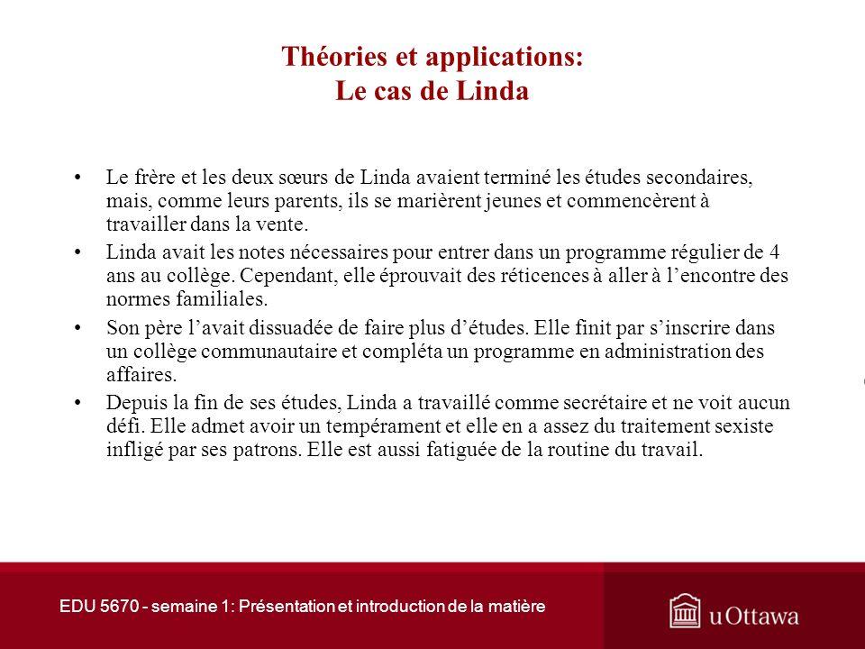 EDU 5670 - semaine 1: Présentation et introduction de la matière Théories et applications: Le cas de Linda Linda était la deuxième dune famille de quatre enfants.