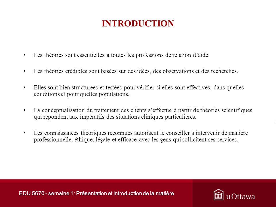 EDU 5670 - semaine 1: Présentation et introduction de la matière Plan de la présentation 1.