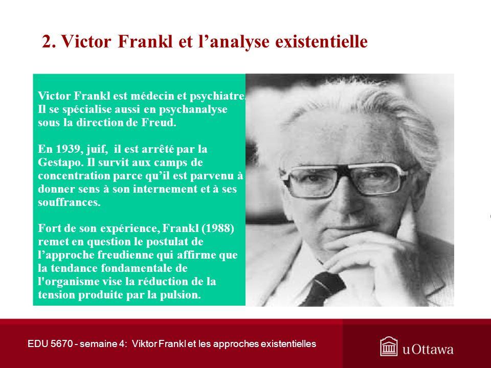 2.Victor Frankl et lanalyse existentielle Victor Frankl est médecin et psychiatre.