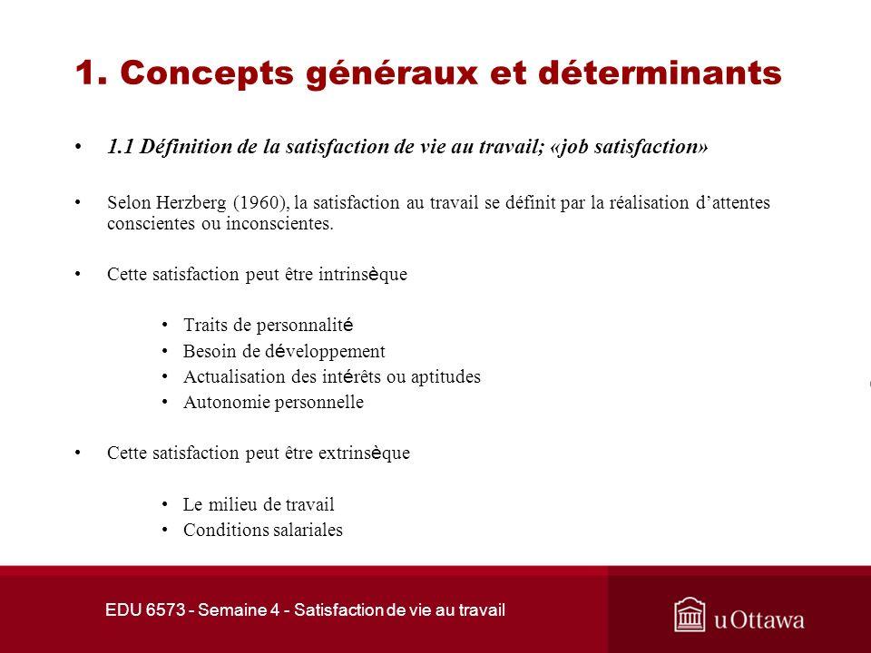 EDU 6573 - Semaine 4 - Satisfaction de vie au travail PLAN DE LA PRÉSENTATION 1.