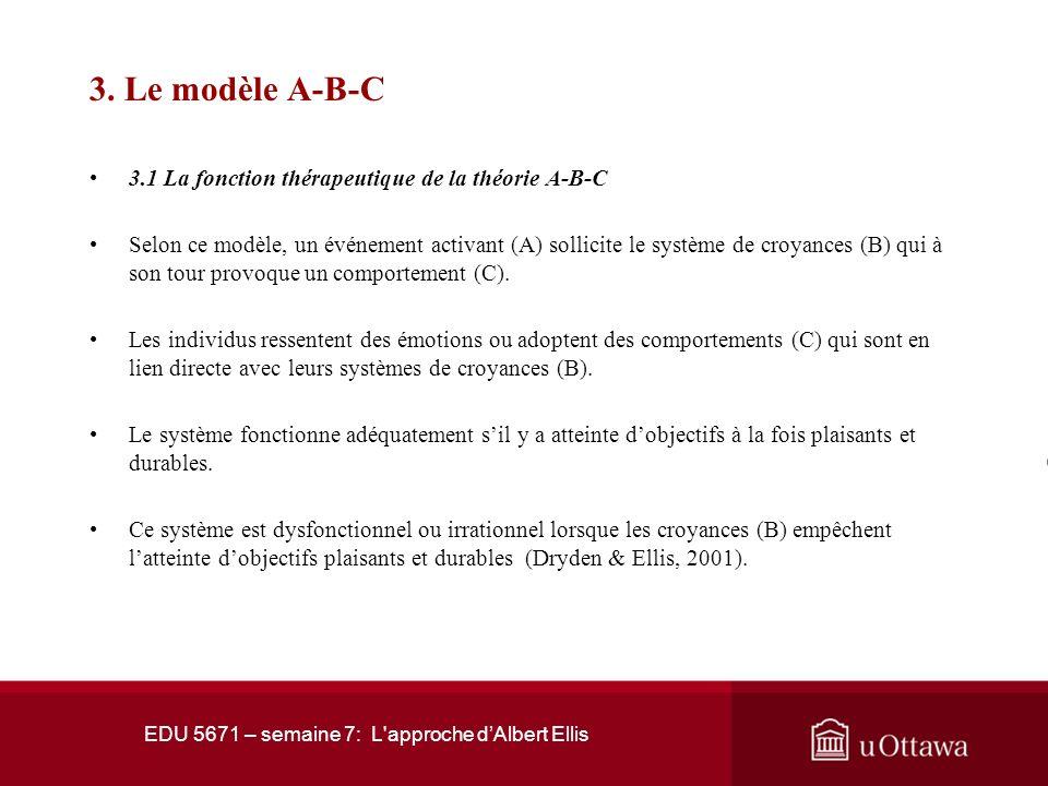 EDU 5671 – semaine 7: L'approche dAlbert Ellis 3. Le modèle A-B-C La psychothérapie rationnelle-émotive-comportementale vise à favoriser lévolution ph