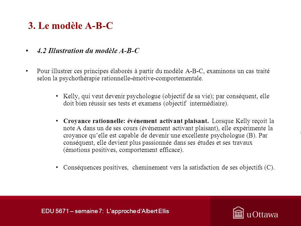 EDU 5671 – semaine 7: L'approche dAlbert Ellis 3. Le modèle A-B-C 3.1 La fonction thérapeutique de la théorie A-B-C Selon ce modèle, un événement acti