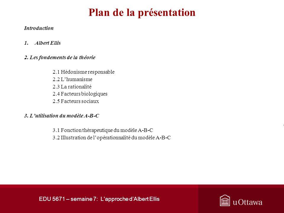 EDU 5671 – semaine 7: L approche dAlbert Ellis Plan de la présentation Introduction 1.Albert Ellis 2.