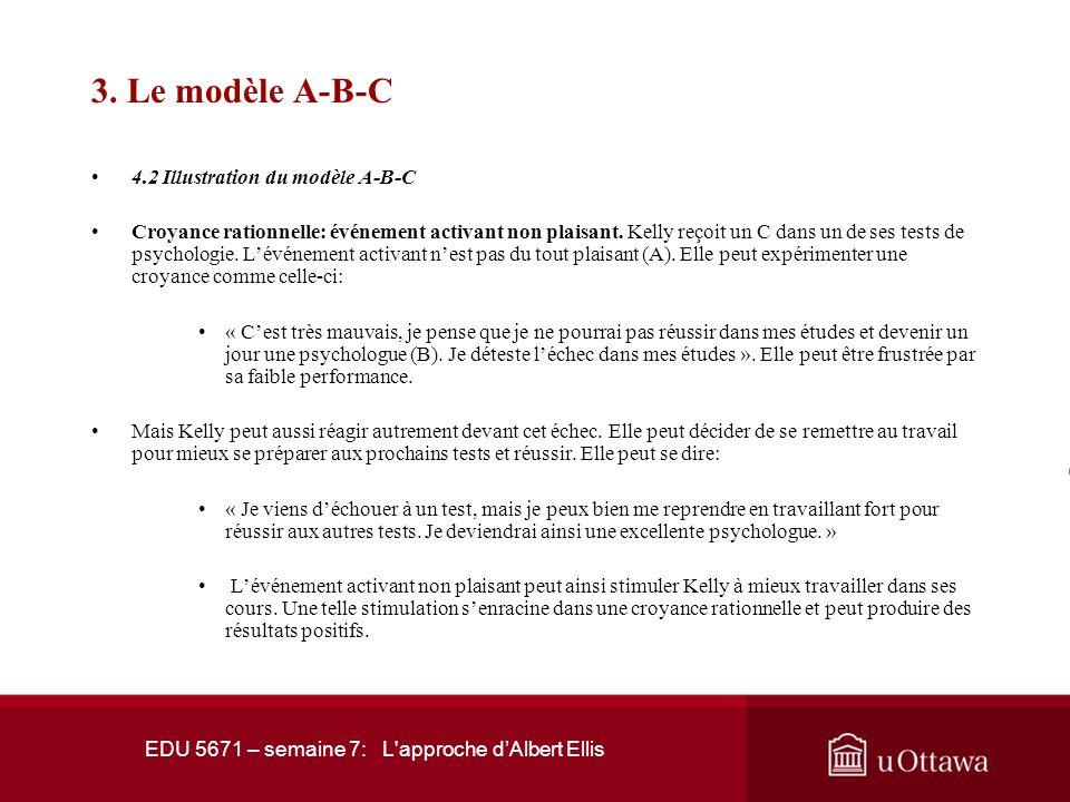 EDU 5671 – semaine 7: L'approche dAlbert Ellis 3. Le modèle A-B-C 4.2 Illustration du modèle A-B-C Pour illustrer ces principes élaborés à partir du m
