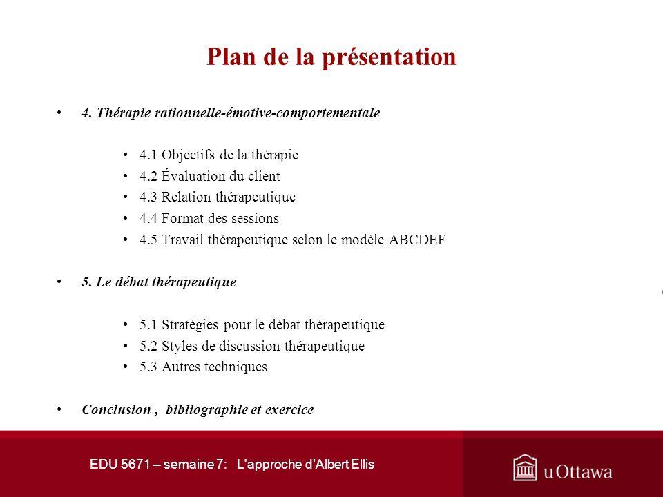 EDU 5671 – semaine 7: L'approche dAlbert Ellis Plan de la présentation Introduction 1.Albert Ellis 2. Les fondements de la théorie 2.1 Hédonisme respo