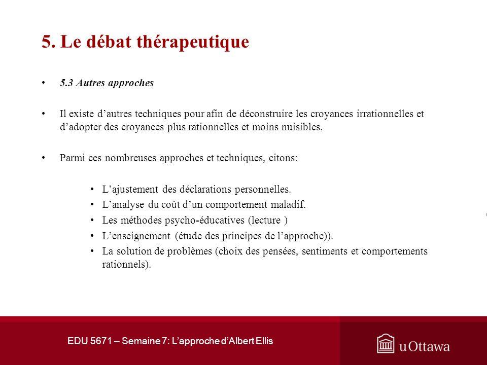 5. Le débat thérapeutique 5.2 Styles de discussion thérapeutique Selon Beal et al. (1996), il y a quatre styles de discussion thérapeutique en approch