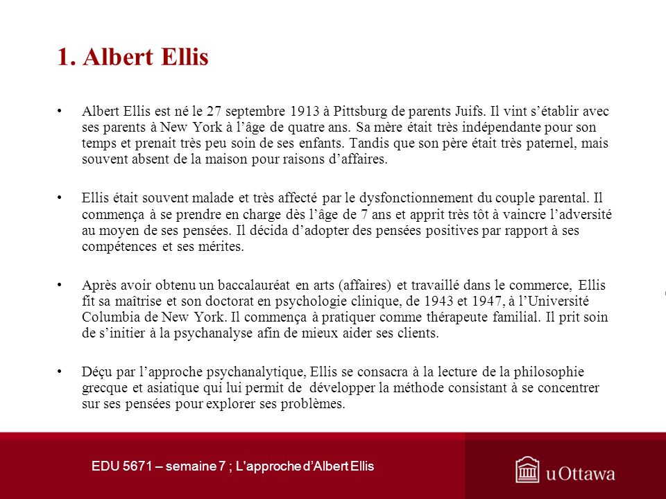 EDU 5671 – semaine 7 ; L approche dAlbert Ellis 1.