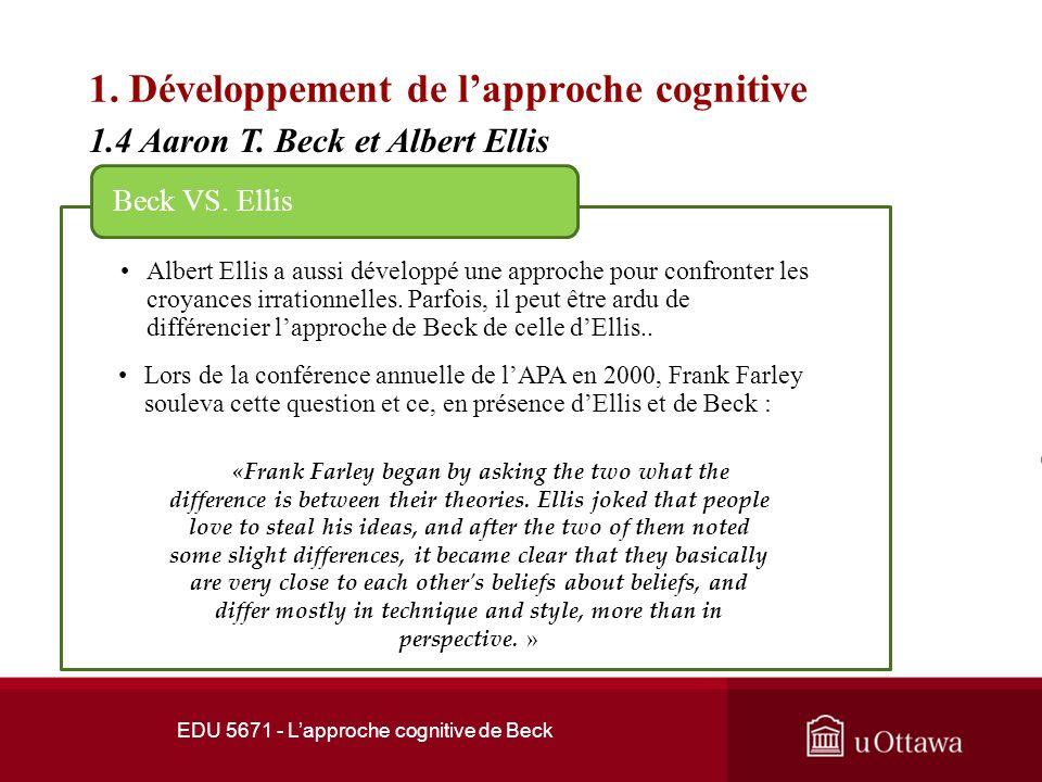 EDU 5671 - Lapproche cognitive de Beck 1. Développement de lapproche cognitive 1.3 Les débuts 3.1.1 Linconscient dynamique Beck comparait les pensées