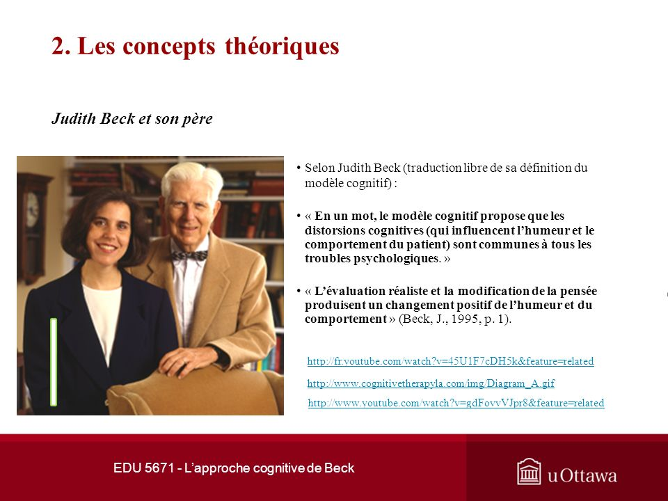 EDU 5671 - Lapproche cognitive de Beck 1. Développement de la thérapie cognitive A. T. Beck et A. Ellis