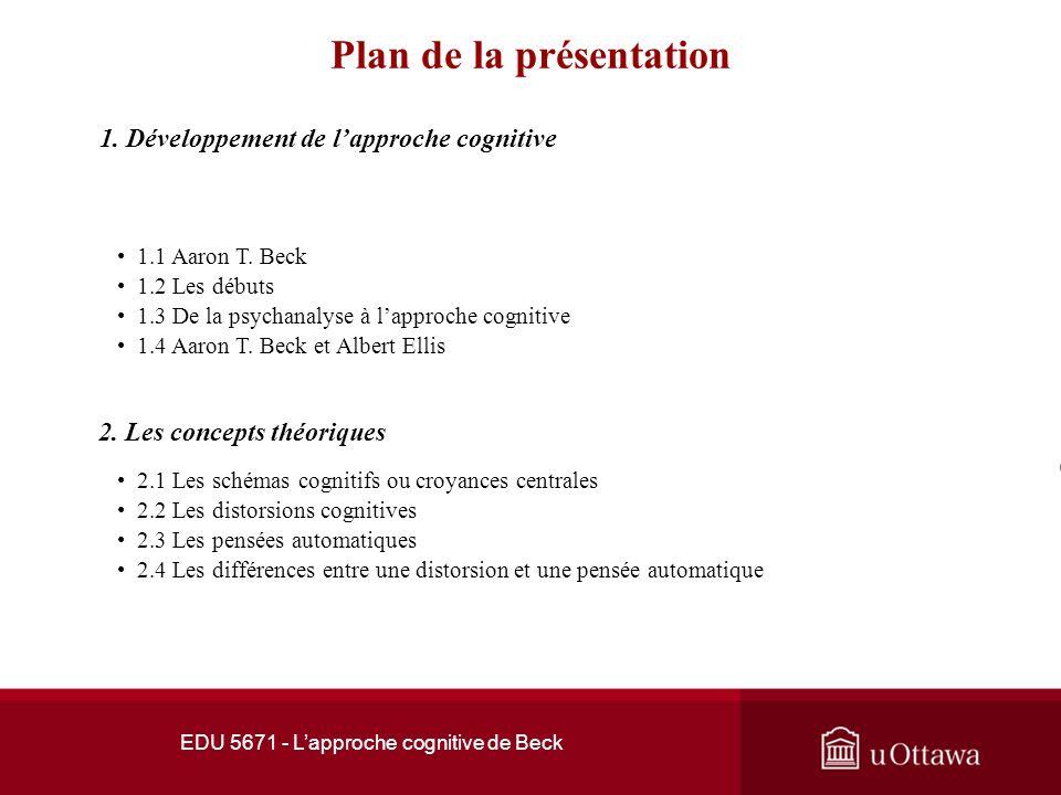 Faculté déducation EDU 5671 Le counselling: théories et pratique I Semaines 6, 7 et 8 Lapproche cognitive de Beck Professeur André Samson, Ph.D., c.o.