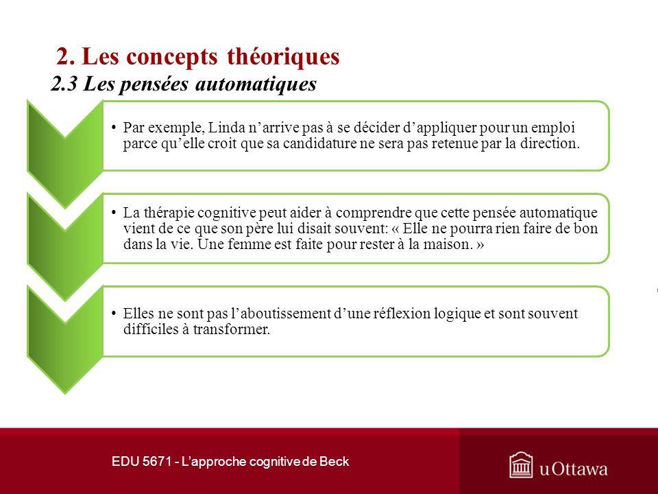 EDU 5671 - Lapproche cognitive de Beck 2. Les concepts théoriques 2.3 Les pensées automatiques Les pensées automatiques constituent un concept clé de