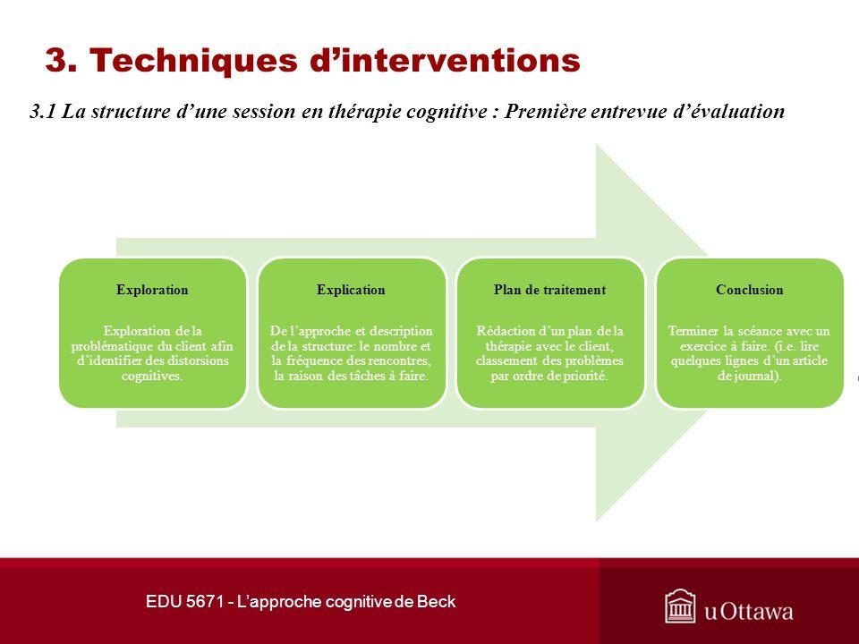 EDU 5671 - Lapproche cognitive de Beck 2. Les concepts théoriques Dépression et approche cognitive La réussite est associée à une idéalisation de la r