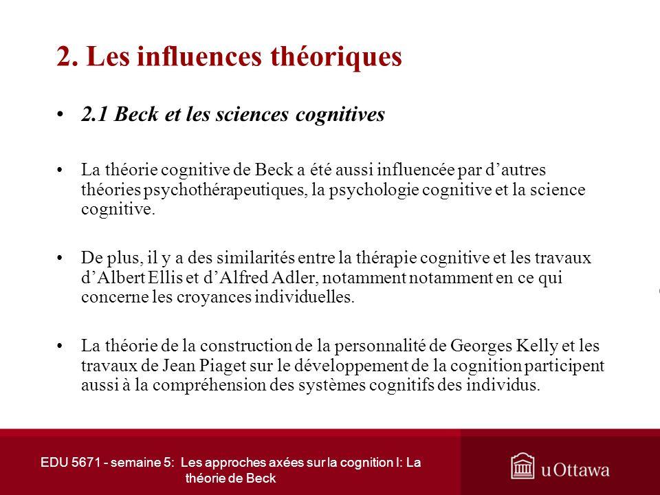 EDU 5671 - semaine 5: Les approches axées sur la cognition I: La théorie de Beck 1. Développement de la thérapie cognitive (suite) 1.3 De la psychanal