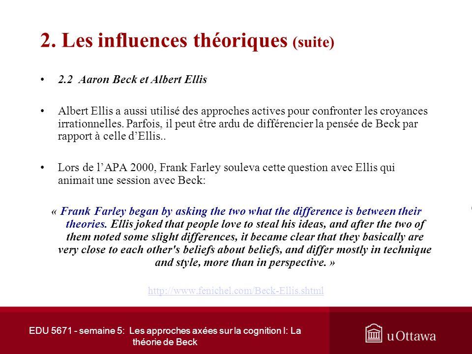 EDU 5671 - semaine 5: Les approches axées sur la cognition I: La théorie de Beck 2. Les influences théoriques 2.1 Beck et les sciences cognitives La t