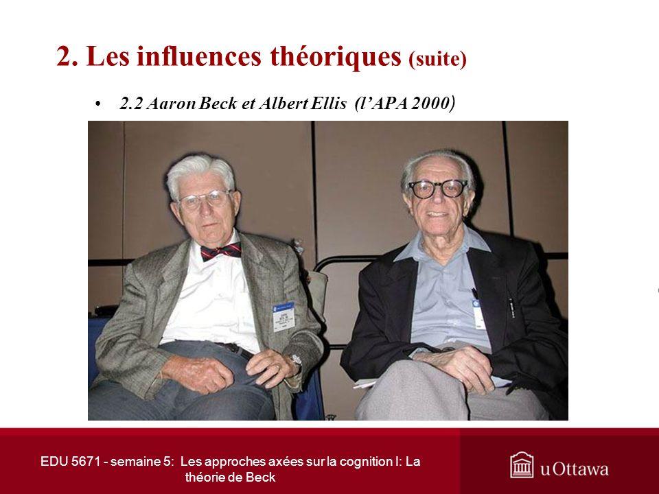EDU 5671 - semaine 5: Les approches axées sur la cognition I: La théorie de Beck 2. Les influences théoriques (suite) 2.2 Aaron Beck et Albert Ellis A