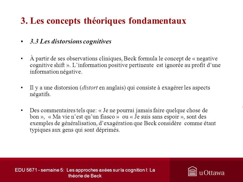 EDU 5671 - semaine 5: Les approches axées sur la cognition I: La théorie de Beck 3. Les concepts théoriques fondamentaux 3.2 Le modèle cognitif (suite