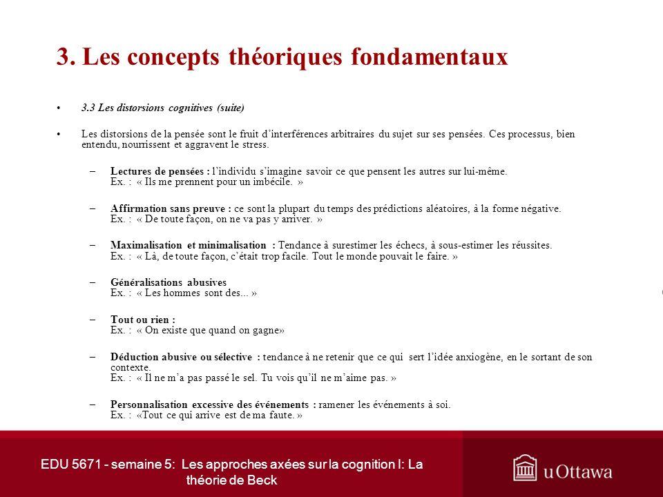 EDU 5671 - semaine 5: Les approches axées sur la cognition I: La théorie de Beck 3. Les concepts théoriques fondamentaux 3.3 Les distorsions cognitive