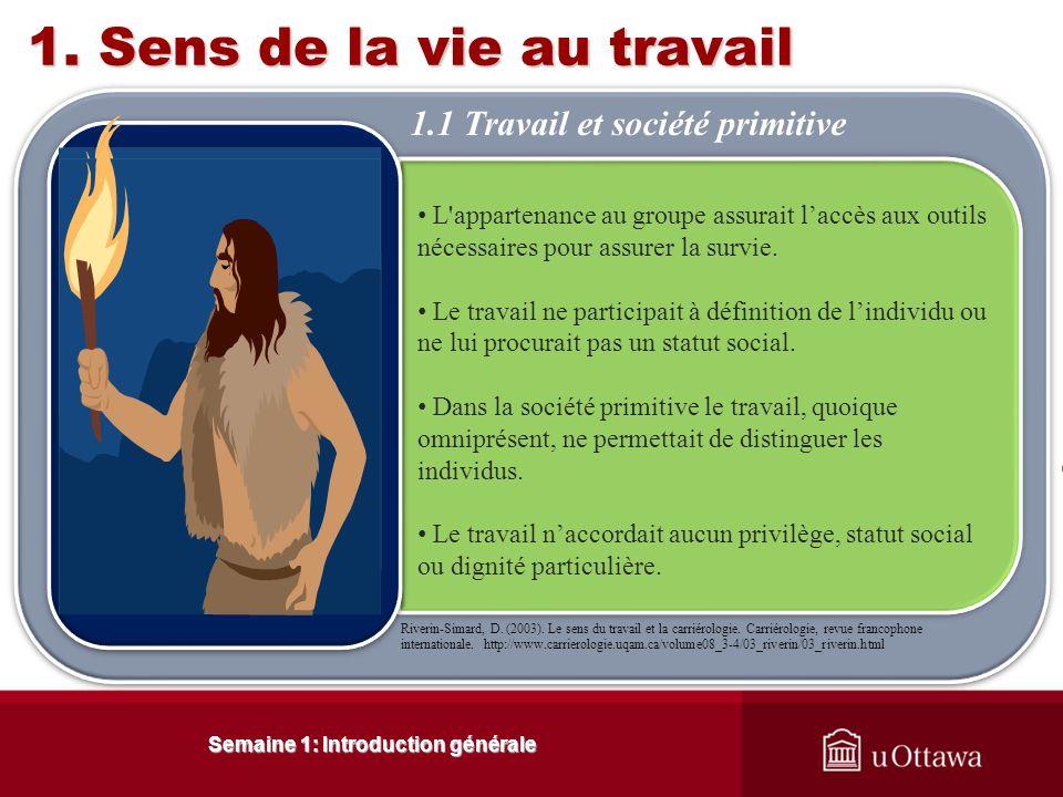 Semaine 1: Introduction générale 1.Sens de la vie au travail Riverin-Simard, D.