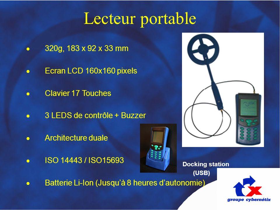 320g, 183 x 92 x 33 mm Ecran LCD 160x160 pixels Clavier 17 Touches 3 LEDS de contrôle + Buzzer Architecture duale ISO 14443 / ISO15693 Batterie Li-Ion