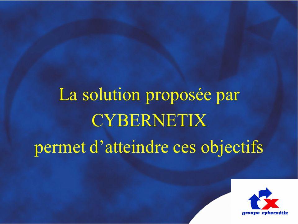 La solution proposée par CYBERNETIX permet datteindre ces objectifs