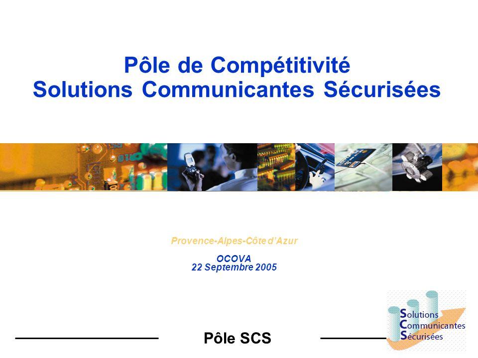 Pôle SCS Part de marché TELECOMS LOGICIELS MICRO- ELECTRONIQUE … 1980 1990 / 2000 TELECOMSLOGICIELS MICRO- ELECTRONIQUE MICROELECTRONIQUE TELECOM LOGICIELS PROJETS MUTUALISES SOLUTIONS COMMUNICANTES SECURISEES 2000/2010 Labellisation Les Projets SCS