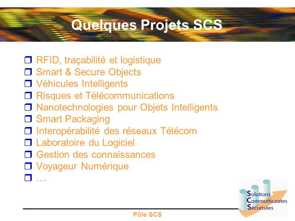 Pôle SCS Quelques Projets SCS RFID, traçabilité et logistique Smart & Secure Objects Véhicules Intelligents Risques et Télécommunications Nanotechnolo