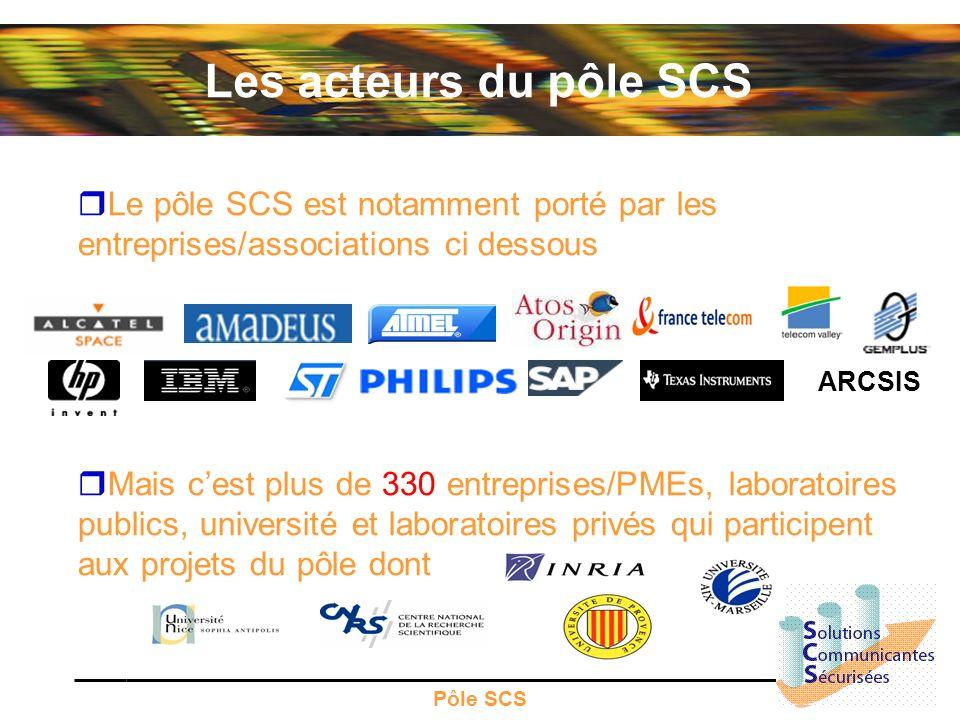 Pôle SCS Les acteurs du pôle SCS Le pôle SCS est notamment porté par les entreprises/associations ci dessous Mais cest plus de 330 entreprises/PMEs, l