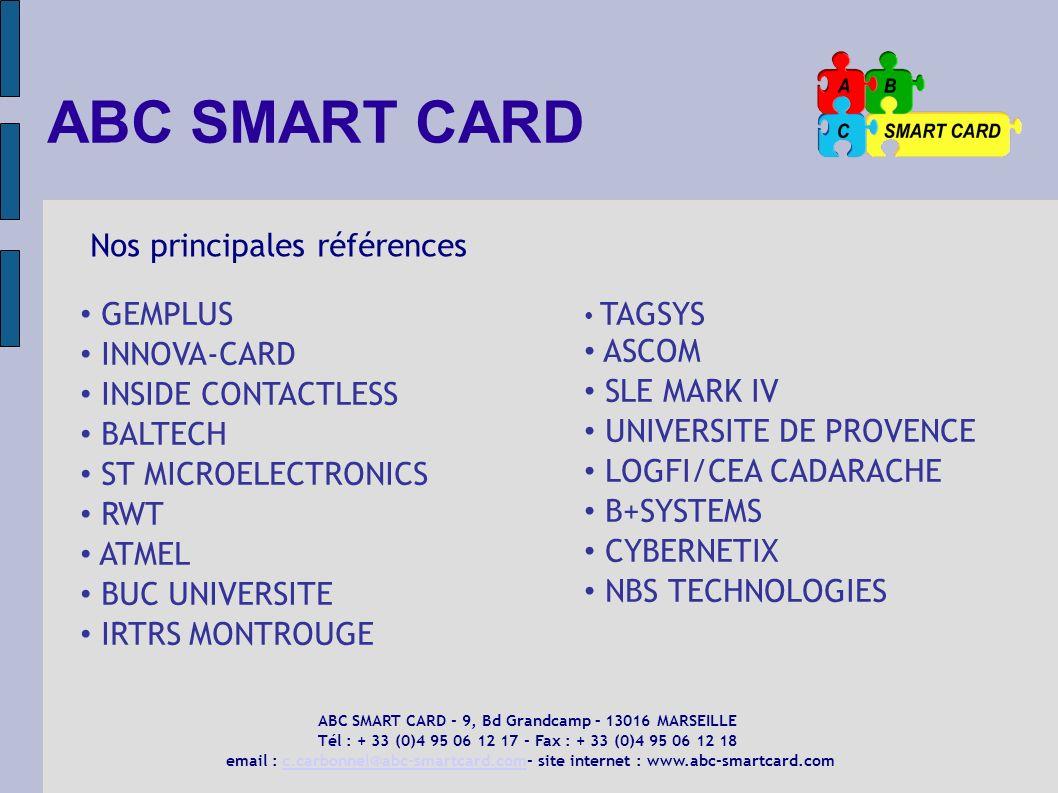 GEMPLUS INNOVA-CARD INSIDE CONTACTLESS BALTECH ST MICROELECTRONICS RWT ATMEL BUC UNIVERSITE IRTRS MONTROUGE TAGSYS ASCOM SLE MARK IV UNIVERSITE DE PRO