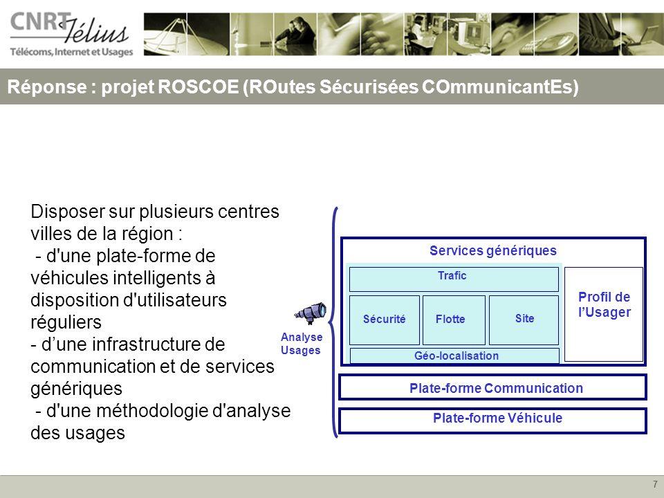 7 Réponse : projet ROSCOE (ROutes Sécurisées COmmunicantEs) Disposer sur plusieurs centres villes de la région : - d'une plate-forme de véhicules inte