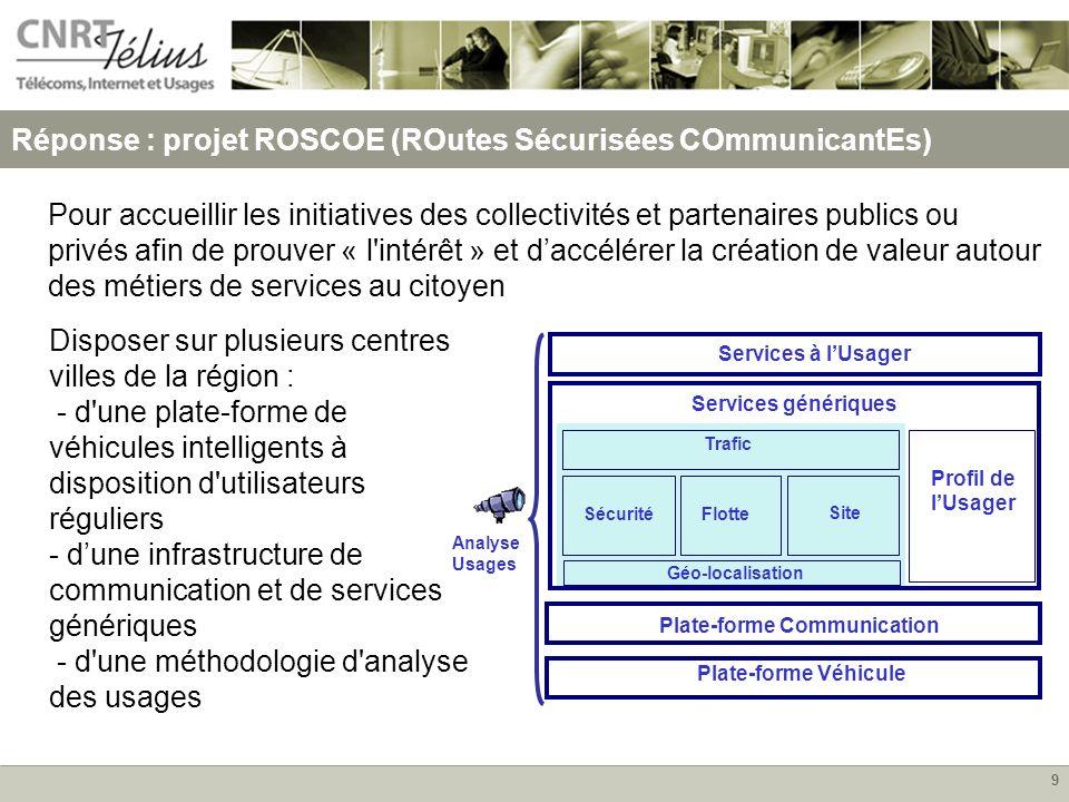 9 Réponse : projet ROSCOE (ROutes Sécurisées COmmunicantEs) Pour accueillir les initiatives des collectivités et partenaires publics ou privés afin de