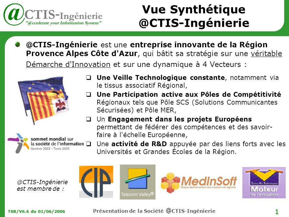1 TSB/V6.6 du 01/06/2006 Présentation de la Société @ CTIS-Ingénierie Vue Synthétique @CTIS-Ingénierie @CTIS-Ingénierie est une entreprise innovante d