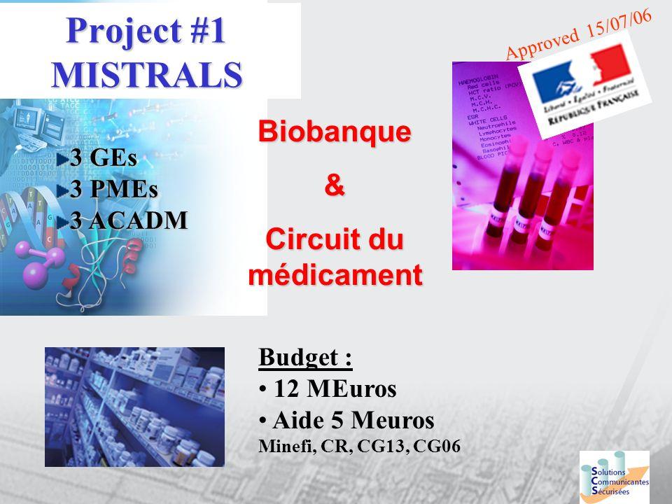 Project #1 MISTRALS Biobanque& Circuit du médicament Approved 15/07/06 3 GEs 3 PMEs 3 ACADM Budget : 12 MEuros Aide 5 Meuros Minefi, CR, CG13, CG06