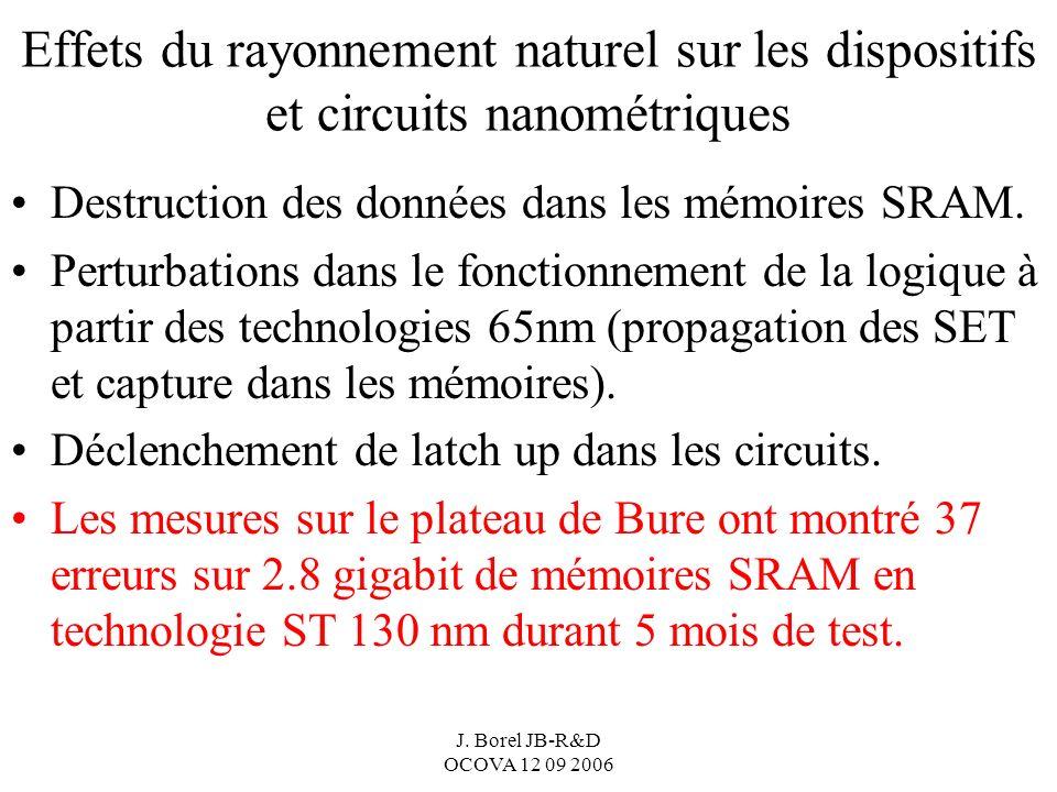 J. Borel JB-R&D OCOVA 12 09 2006 Effets du rayonnement naturel sur les dispositifs et circuits nanométriques Destruction des données dans les mémoires