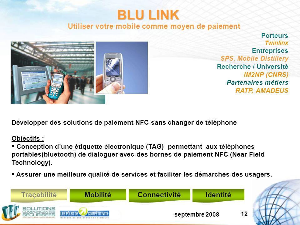septembre 2008 12 BLU LINK Développer des solutions de paiement NFC sans changer de téléphone Objectifs : Conception dune étiquette électronique (TAG) permettant aux téléphones portables(bluetooth) de dialoguer avec des bornes de paiement NFC (Near Field Technology).