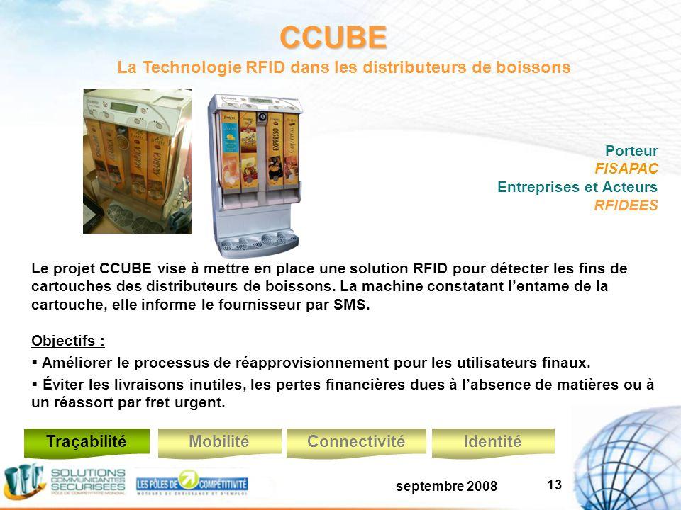 septembre 2008 13 CCUBE Le projet CCUBE vise à mettre en place une solution RFID pour détecter les fins de cartouches des distributeurs de boissons.