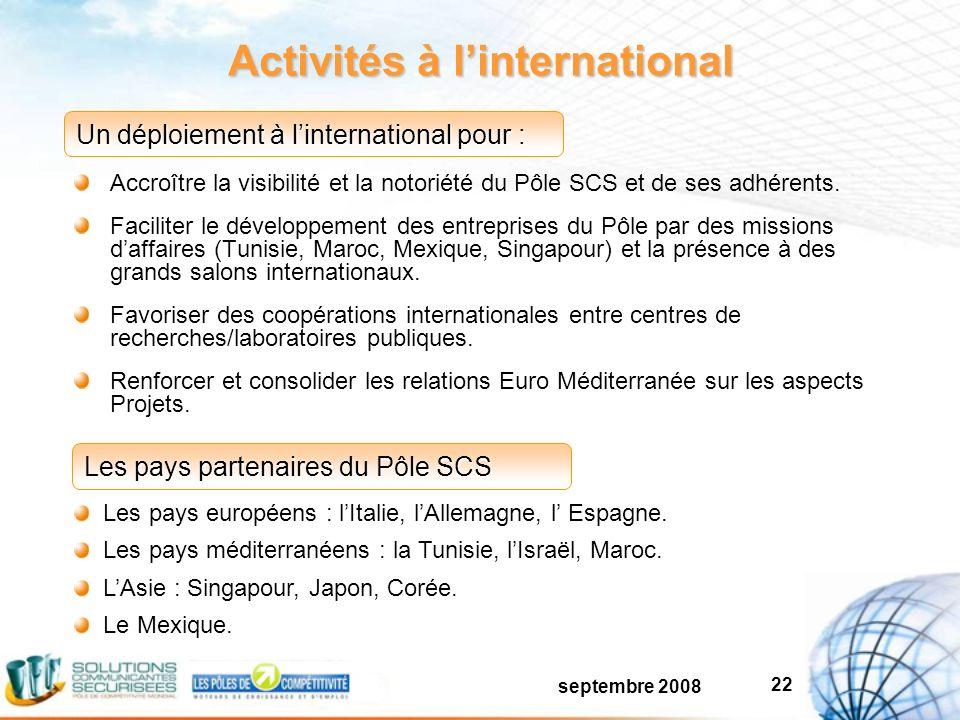 septembre 2008 22 Activités à linternational Accroître la visibilité et la notoriété du Pôle SCS et de ses adhérents.