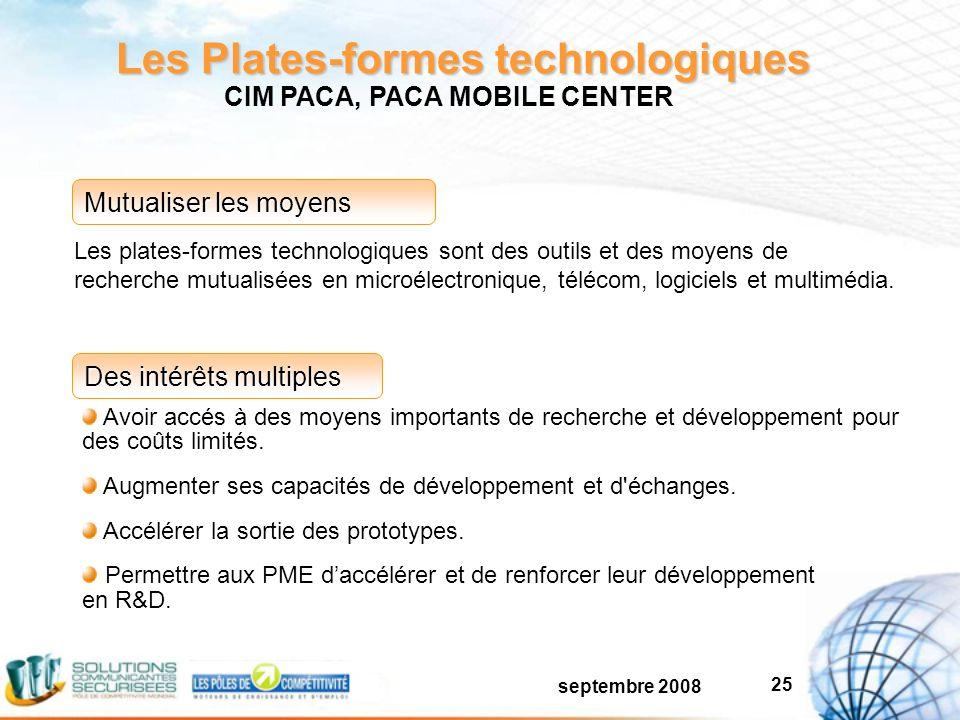 septembre 2008 25 Les Plates-formes technologiques Avoir accés à des moyens importants de recherche et développement pour des coûts limités.