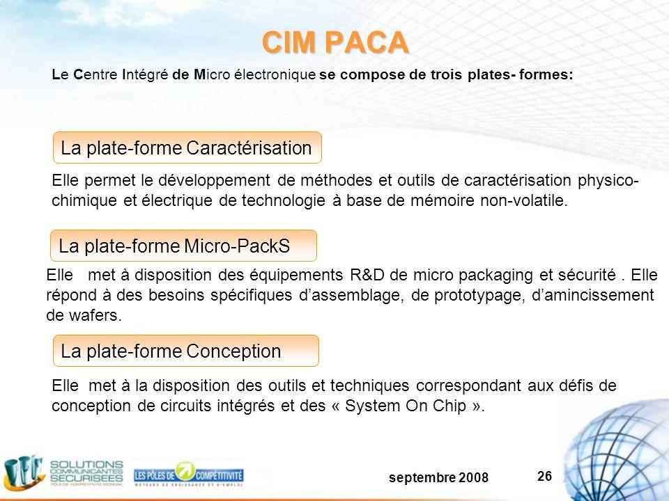 septembre 2008 26 CIM PACA La plate-forme Caractérisation La plate-forme Micro-PackS La plate-forme Conception Elle permet le développement de méthodes et outils de caractérisation physico- chimique et électrique de technologie à base de mémoire non-volatile.