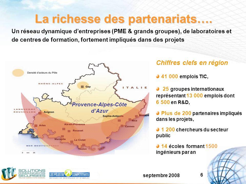septembre 2008 6 La richesse des partenariats….
