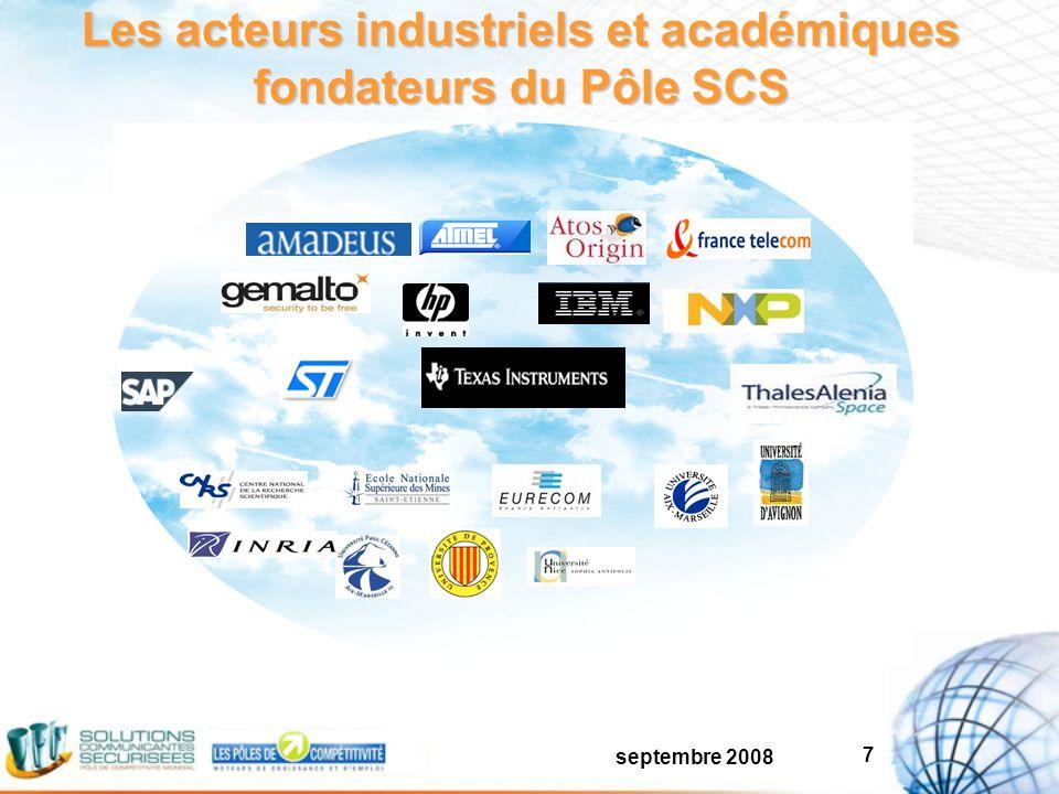 septembre 2008 7 Les acteurs industriels et académiques fondateurs du Pôle SCS