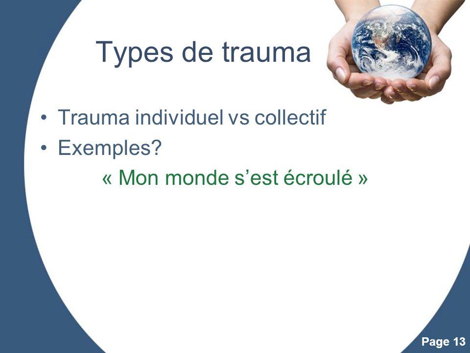 Powerpoint Templates Page 13 Types de trauma Trauma individuel vs collectif Exemples? « Mon monde sest écroulé »
