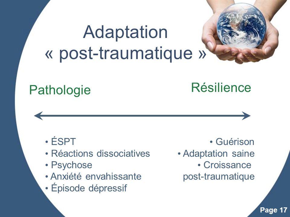 Powerpoint Templates Page 17 Adaptation « post-traumatique » ÉSPT Réactions dissociatives Psychose Anxiété envahissante Épisode dépressif Pathologie R