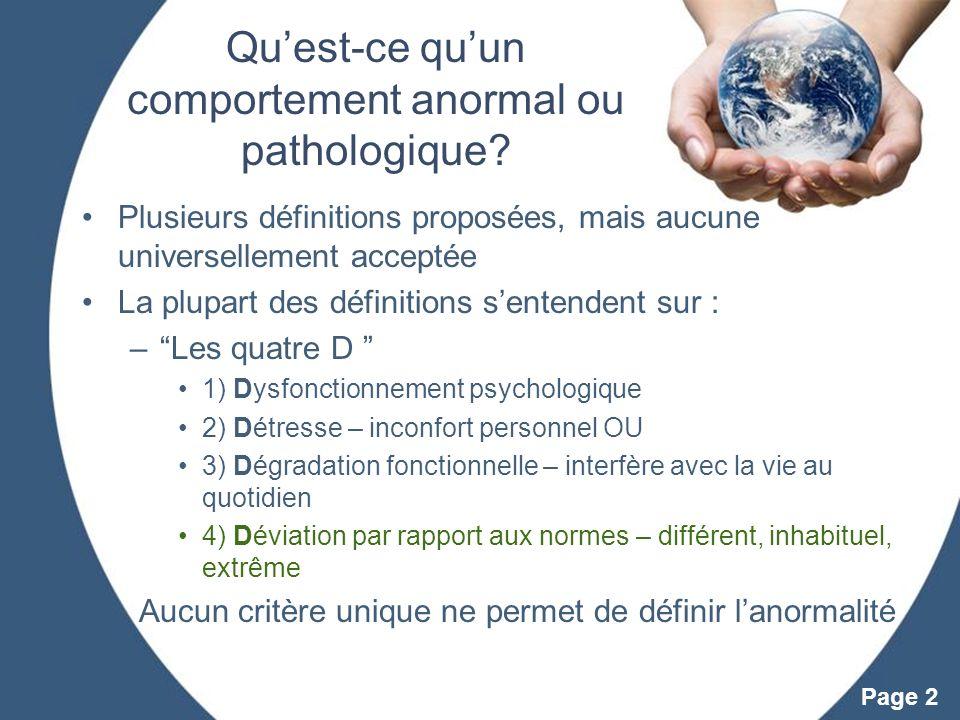 Powerpoint Templates Page 2 Quest-ce quun comportement anormal ou pathologique? Plusieurs définitions proposées, mais aucune universellement acceptée