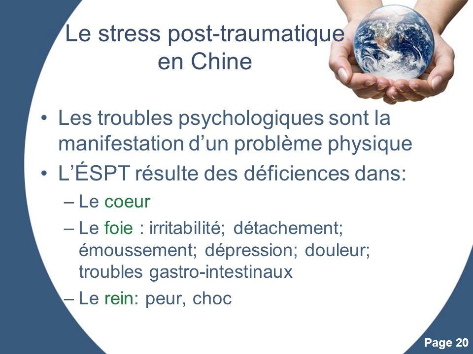 Powerpoint Templates Page 20 Le stress post-traumatique en Chine Les troubles psychologiques sont la manifestation dun problème physique LÉSPT résulte