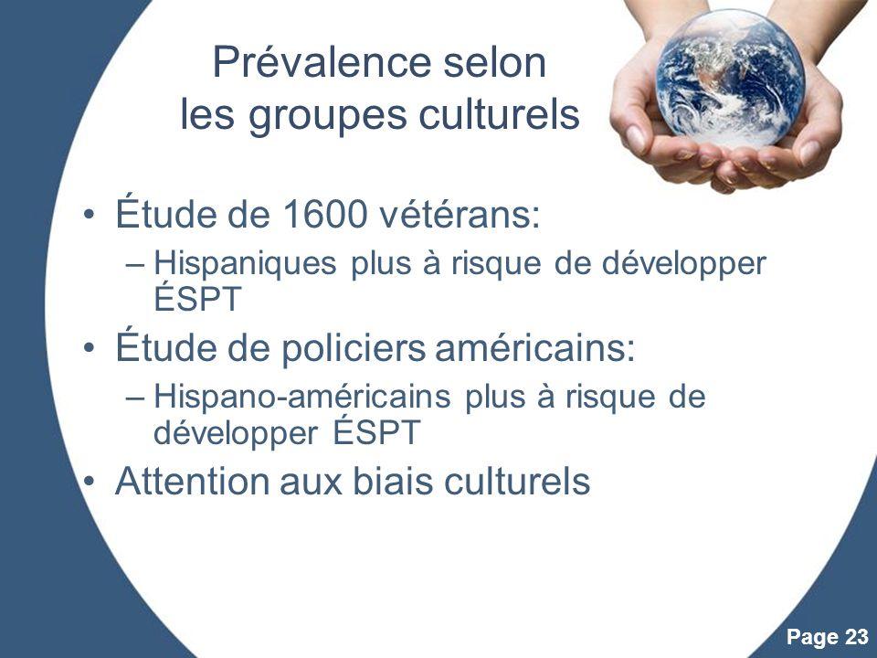 Powerpoint Templates Page 23 Prévalence selon les groupes culturels Étude de 1600 vétérans: –Hispaniques plus à risque de développer ÉSPT Étude de pol
